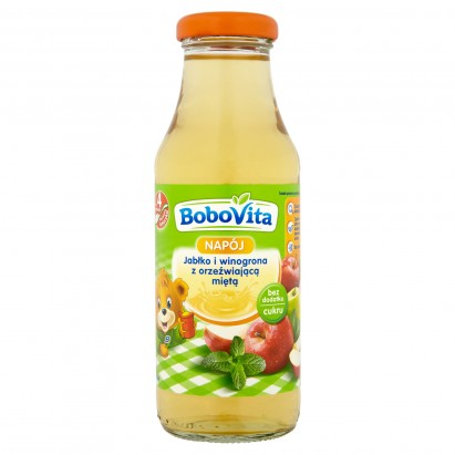BoboVita Napój Jabłko i winogrona z orzeźwiającą miętą po 4 miesiącu 300 ml