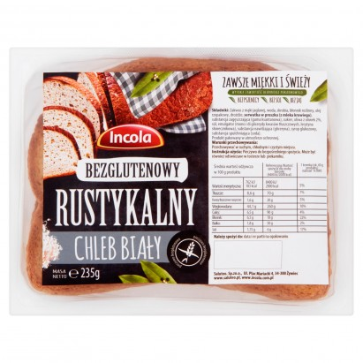 Incola Bezglutenowy rustykalny chleb biały 235 g