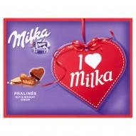 Milka Czekoladki mleczne z nadzieniem migdałowym I Love Milka 110 g (20 sztuk)